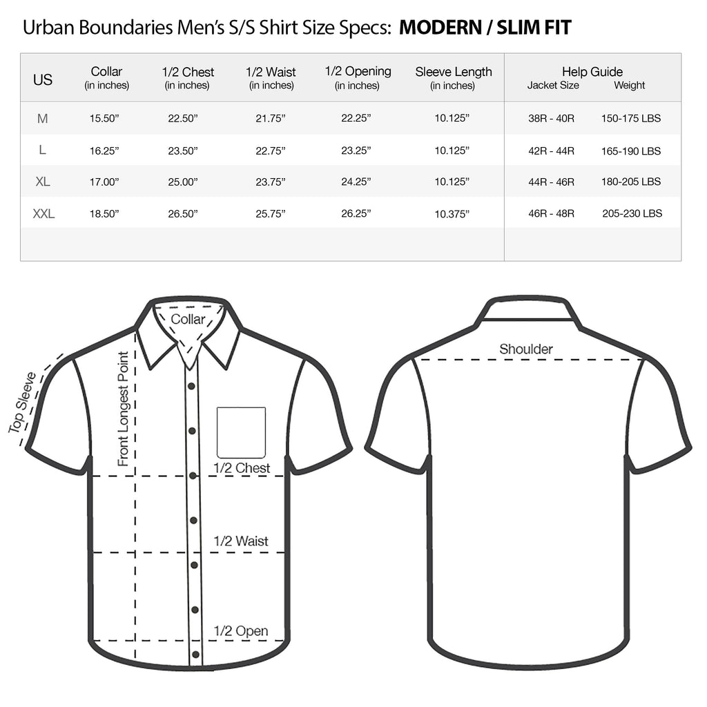 urban boundaries mens short sleeve shirt modern slim fit size chart specs