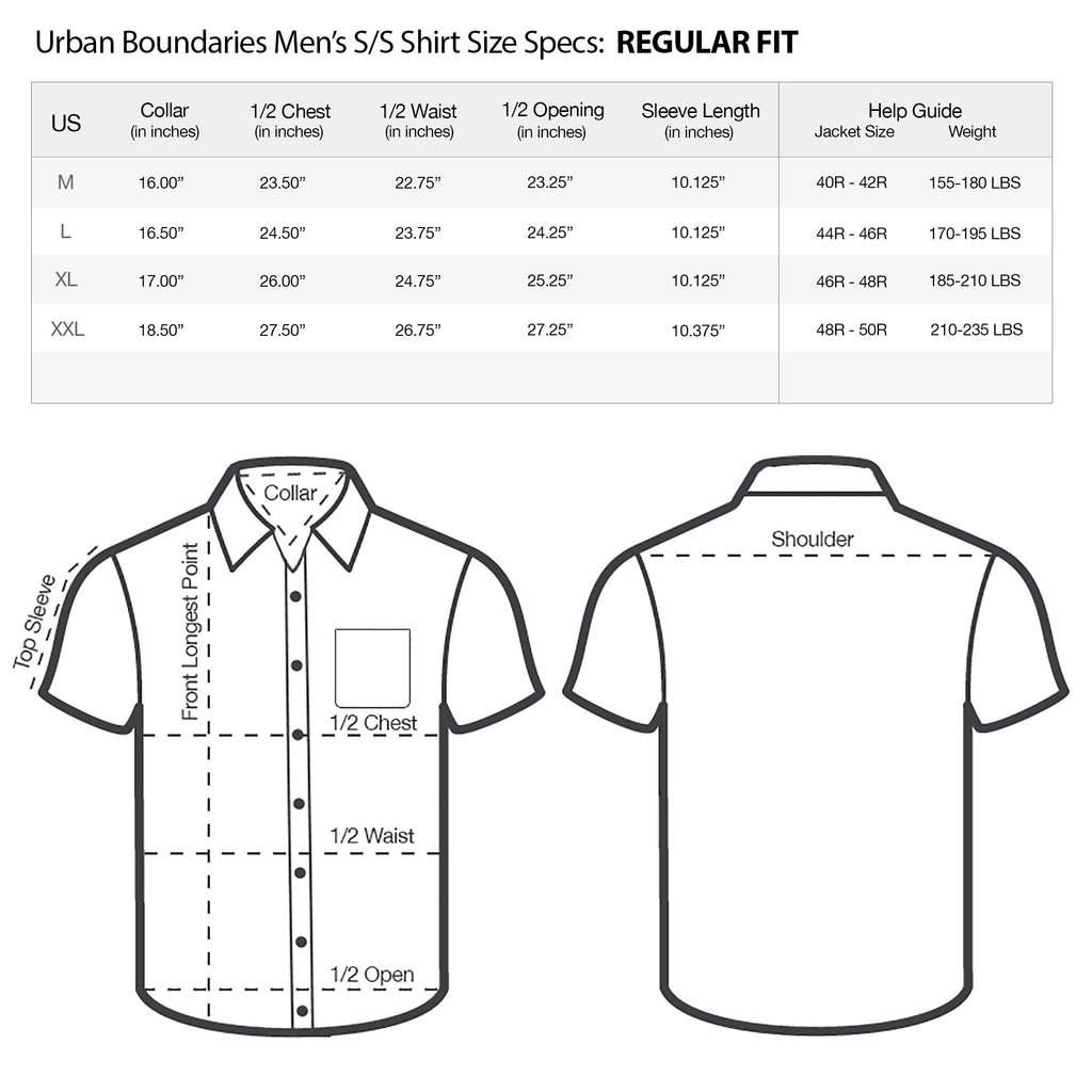 urban boundaries mens short sleeve shirt regular fit size chart specs