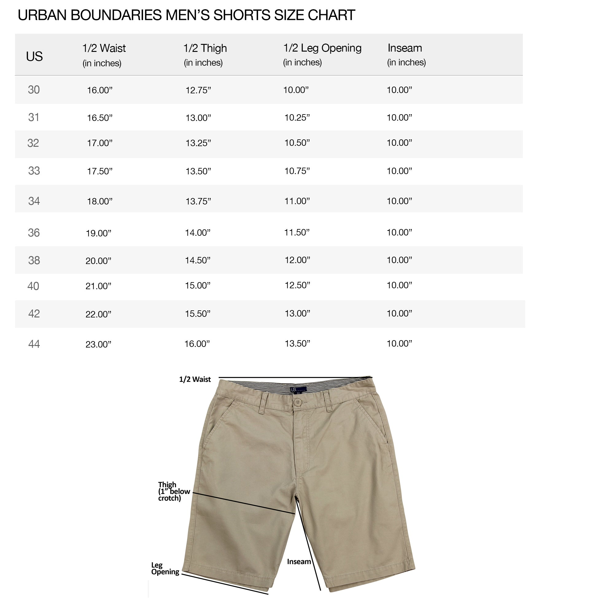 urban boundaries mens shorts size specs