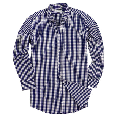 Men's Classic Stretch Gingham Plaid Shirt navy white