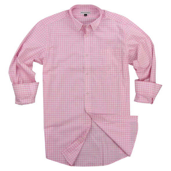 Men's Classic Stretch Gingham Plaid Shirt pink white