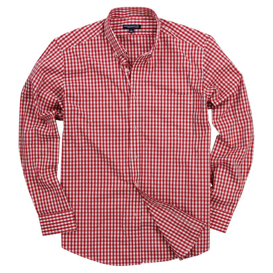 Men's Classic Stretch Gingham Plaid Shirt red white