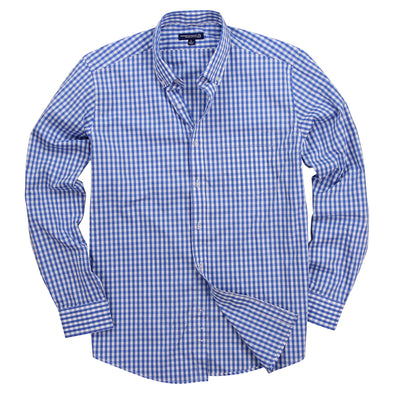 Men's Classic Stretch Gingham Plaid Shirt sky white