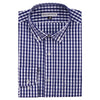 Men's Classic Stretch Gingham Plaid Shirt navy white folded