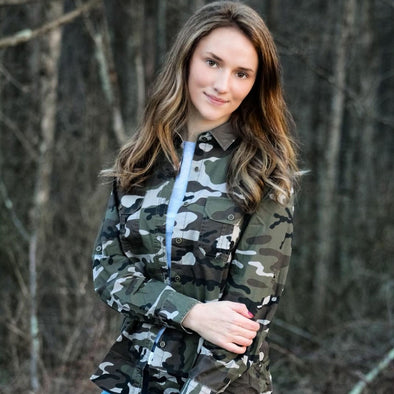 Womens Camouflage Long Sleeve Woven Shirt Outdoor Life West Virginia