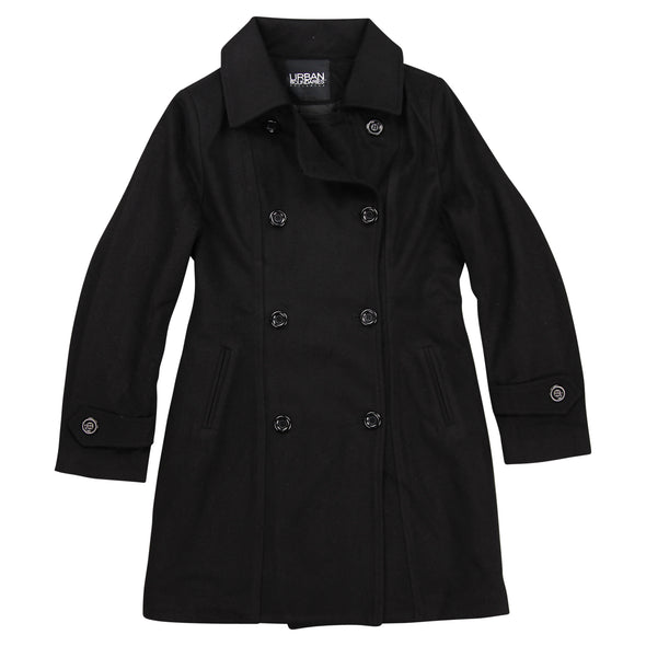 Womens Wool Blend Double Breasted Pea Coat