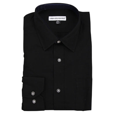 Men's Classic Point Collar Long Sleeve Sized Dress Shirt black folded