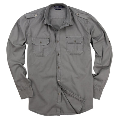Men's Garment Dyed Military Style Shirt - Regular Fit (Spread Collar)