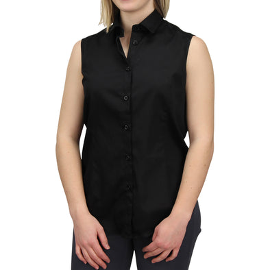 Sleeveless Button Down Cotton Shirt Black Model
