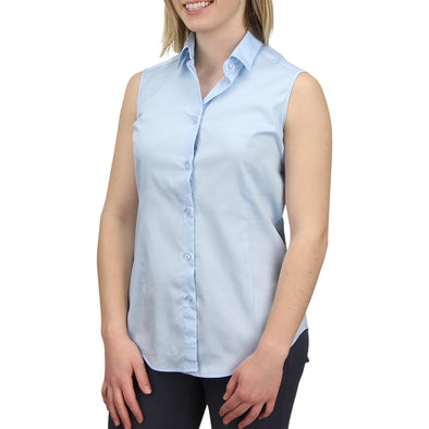 Sleeveless Button Down Cotton Shirt light blue model