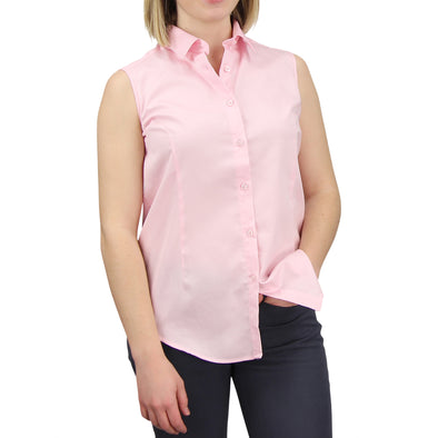 Sleeveless Button Down Cotton Shirt light pink model