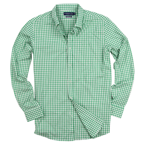 Men's Gingham Plaid Button Up Long Sleeve Shirt Green White