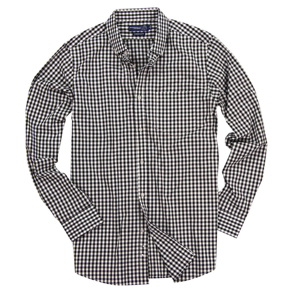 Men's Gingham Plaid Button Up Long Sleeve Shirt Black White