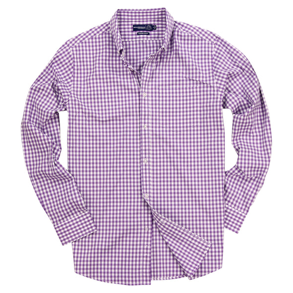 Men's Gingham Plaid Button Up Long Sleeve Shirt Purple White