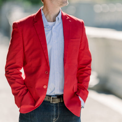 mens red blazer sport coat jacket cotton spandex