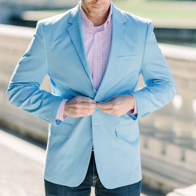 mens light sky blue blazer sport coat jacket cotton spandex
