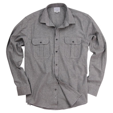 Urban Boundaries Men's Brushed Chambray Long Sleeve Shirt -Gray