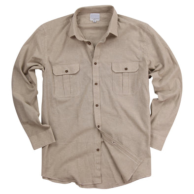 Urban Boundaries Men's Brushed Chambray Long Sleeve Shirt -Tan