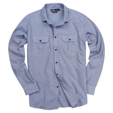 Urban Boundaries Men's Brushed Chambray Long Sleeve Shirt -Blue