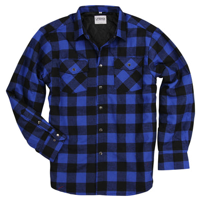 Men's Insulated Flannel Shirt Jacket navy black