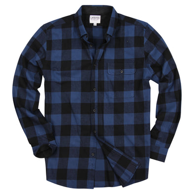 Men's Classic Flannel Shirt Navy Black Buffalo Plaid