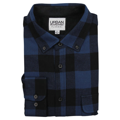 Men's Classic Flannel Shirt - Regular Fit (Button Down & Spread Collar, Navy / Black)