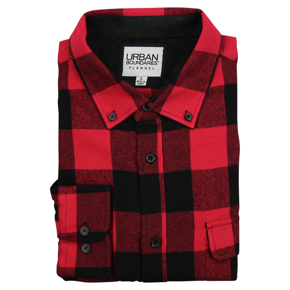 Men's Classic Flannel Shirt button red black