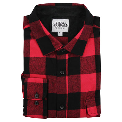 Men's Classic Flannel Shirt -Button Collar Red/Black Feat