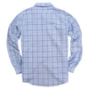mens long sleeve linen plaid back of shirt
