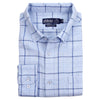 mens long sleeve linen plaid folded presentation