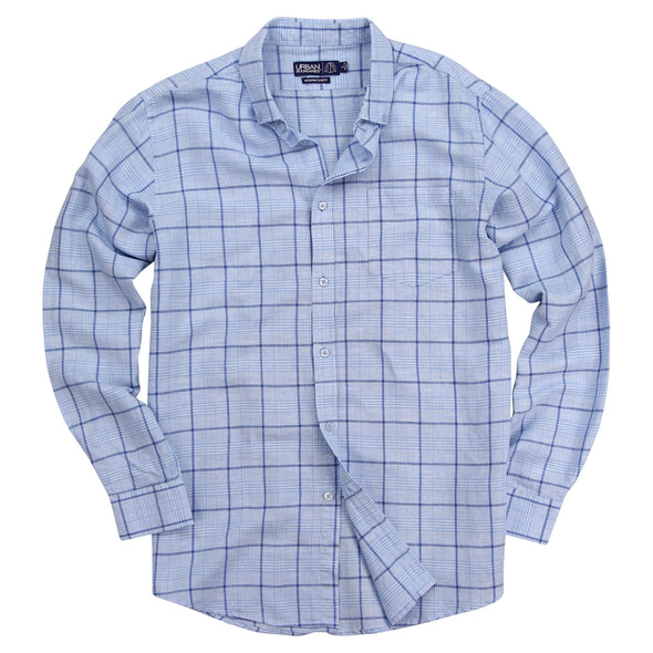 mens long sleeve linen plaid button down shirt