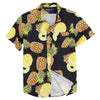 Vacation Party Printed Pattern Short Sleeve Shirt Pineapple Black