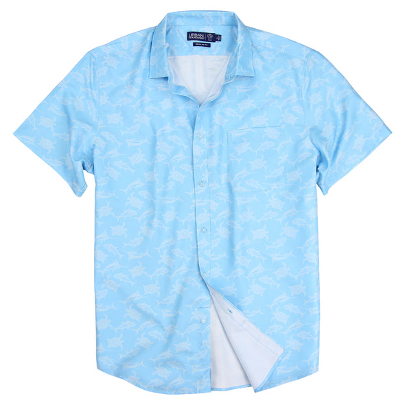 Vacation Party Printed Pattern Short Sleeve Shirt Sea Blue