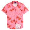 Vacation Party Printed Pattern Short Sleeve Shirt Pink Crabs