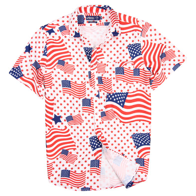 Vacation Party Printed Pattern Short Sleeve Shirt USA flag