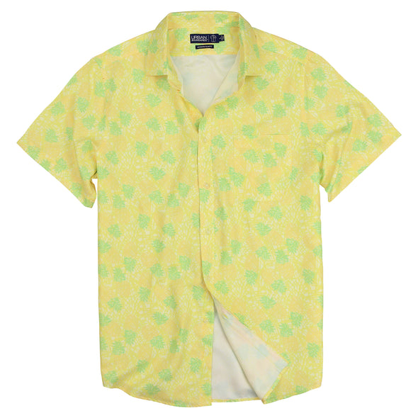 Vacation Party Printed Pattern Short Sleeve Shirt Pineapple Yellow