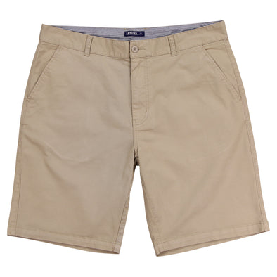 "Man's khaki flat front stretch shorts that have a 10"" inseam with a blue and white striped internal waistband."