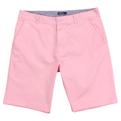 "Man's pink flat front stretch shorts that have a 10"" inseam with a blue and white striped internal waistband"