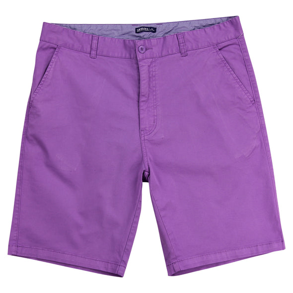 "Man's purple flat front stretch shorts that have a 10"" inseam with a blue and white striped internal waistband."