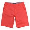 "Man's red flat front stretch shorts that have a 10"" inseam with a blue and white striped internal waistband."