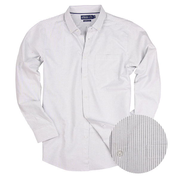 Men's Striped Cotton Oxford Long Sleeve Shirt