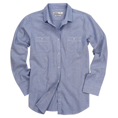 Women's Classic Brushed Chambray Long Sleeve Shirt (Light Blue)