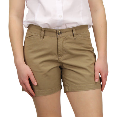 Women's Classic Flat Front Shorts long khaki model