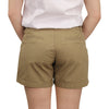 Women's Classic Flat Front Shorts long khaki model back