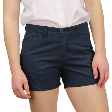 "womens 3.5"" inseam shorts in navy blue on a model"