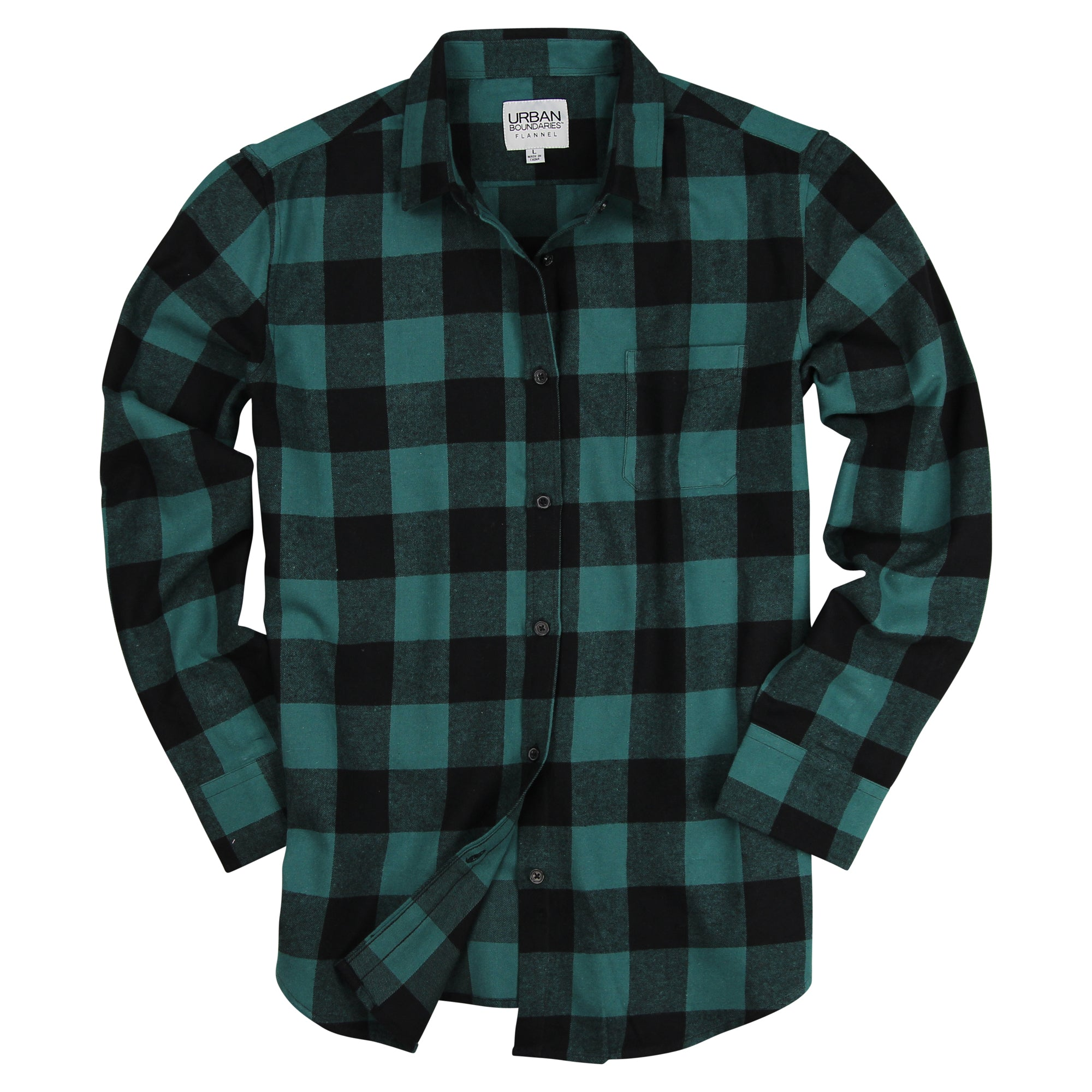 Women s Classic Buffalo Plaid Flannel Shirt Green   Black – Urban Boundaries 8bb9699033e