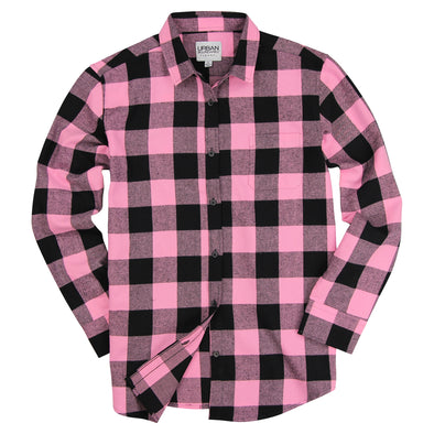 Women's Classic Flannel Shirt Pink Black