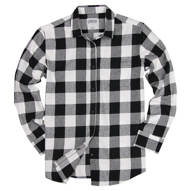 Women's Classic Flannel Shirt Black White Feat