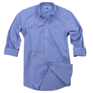 Men's Classic Stretch Gingham Plaid Shirt sky white alt
