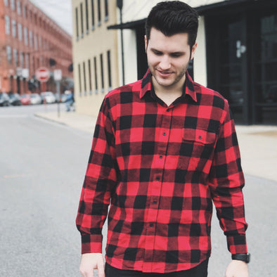 Men's Classic Flannel Shirt model red black